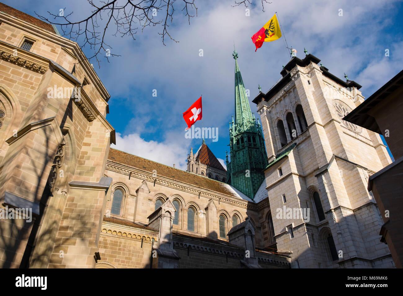 Saint-Pierre cathedral, historic center. Old town, Genève Suisse. Geneva. Switzerland Europe - Stock Image