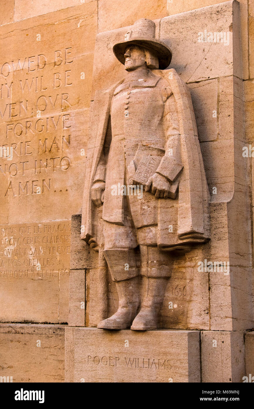 Detail Reformation Wall in Bastions Park showing Roger Williams, Vieille-Ville. historic center. Old town, Genève - Stock Image