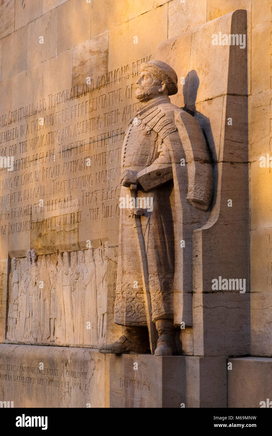 Detail Reformation Wall in Bastions Park showing Esteban Bocskai, Vieille-Ville. historic center. Old town, Genève - Stock Image