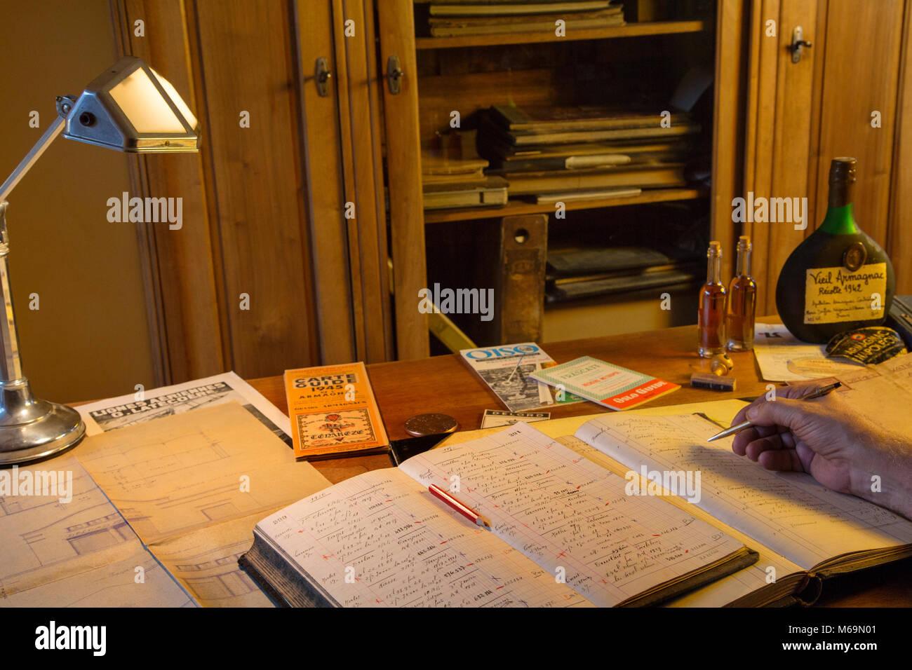 Armagnac Delord cellar, Lannepax. Le Gers Department, New Aquitaine, Midi Pyerenees. France Europe - Stock Image