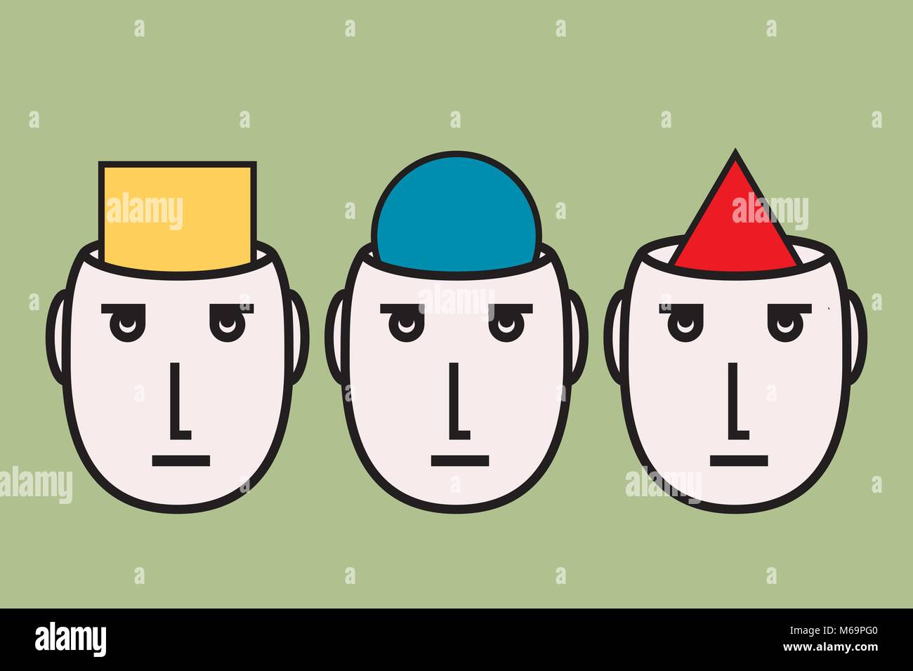oppinion diversity: people having different convictions; Stock Vector