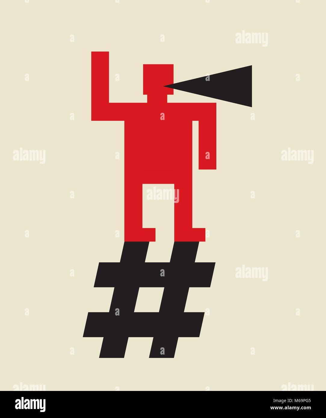 online propaganda: spread the word using hashtag, - Stock Vector