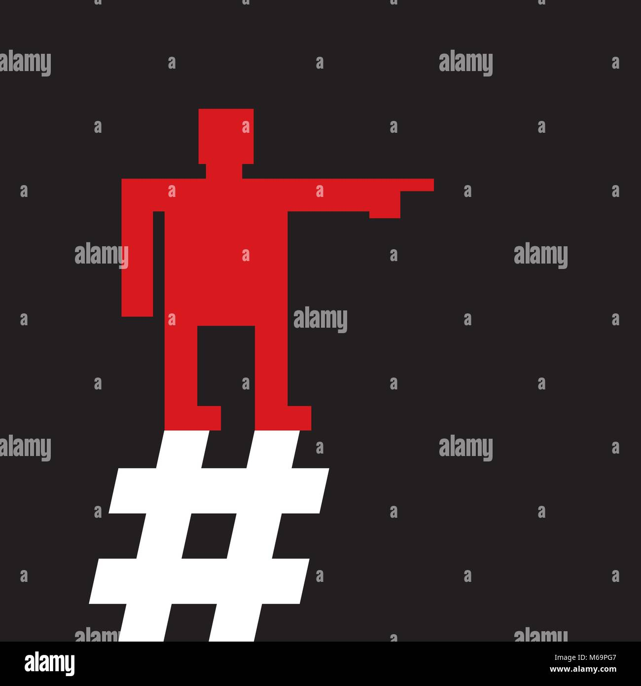 red man is  pointing  direction while standing on a hashtag sign, constructivist style - Stock Vector