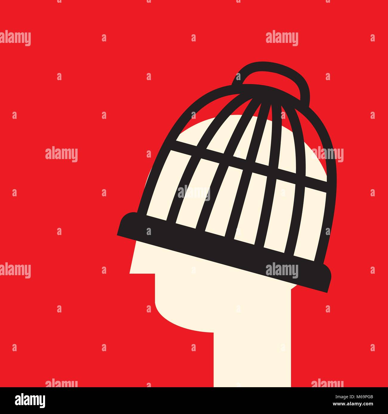 head in the cage as a symbol of limited unerstanding and bias - Stock Vector