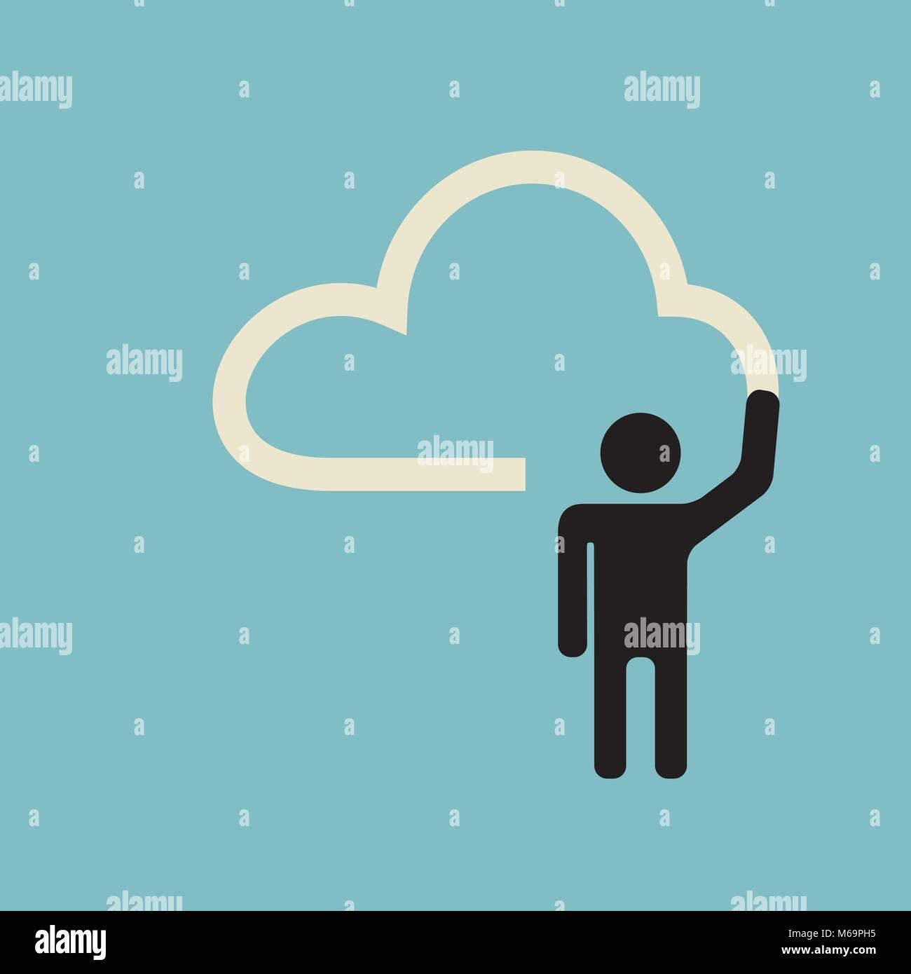 cloud design - presenting creative idea plan - Stock Vector