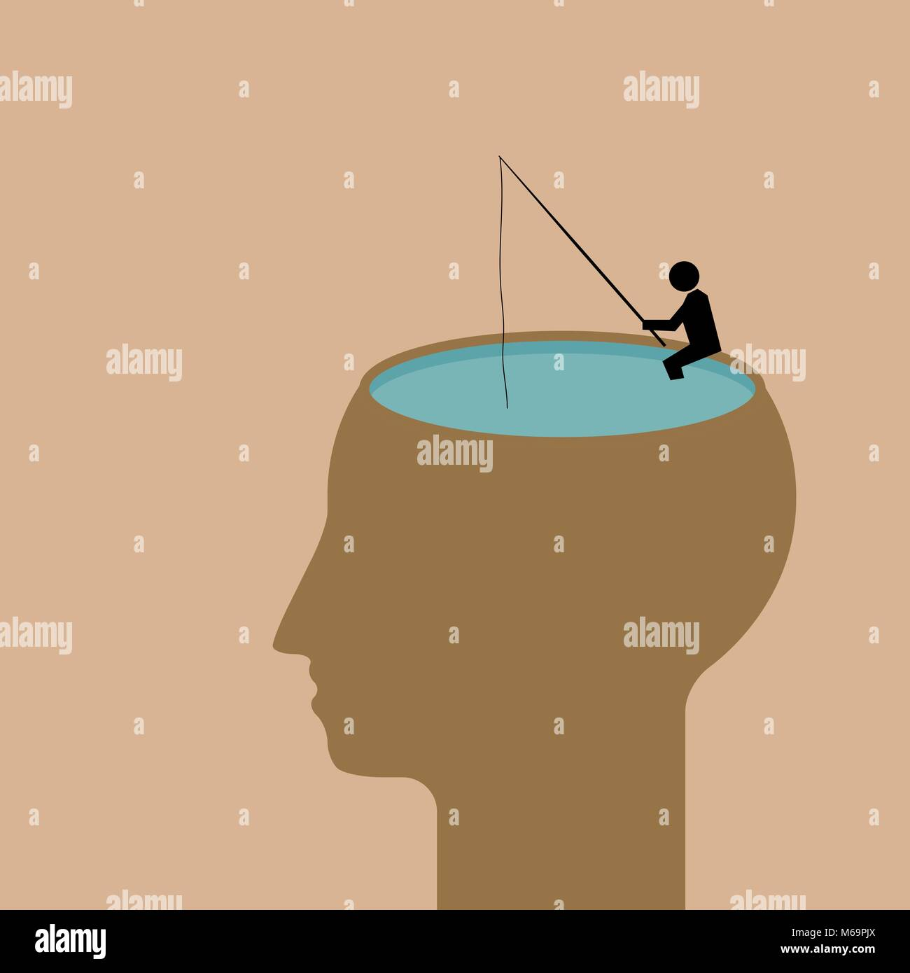meditation - fishing  deep in thoughts - Stock Vector