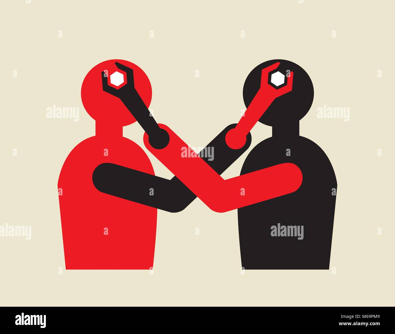 controversy, mutual influential  mind manipulation using wrench - Stock Image
