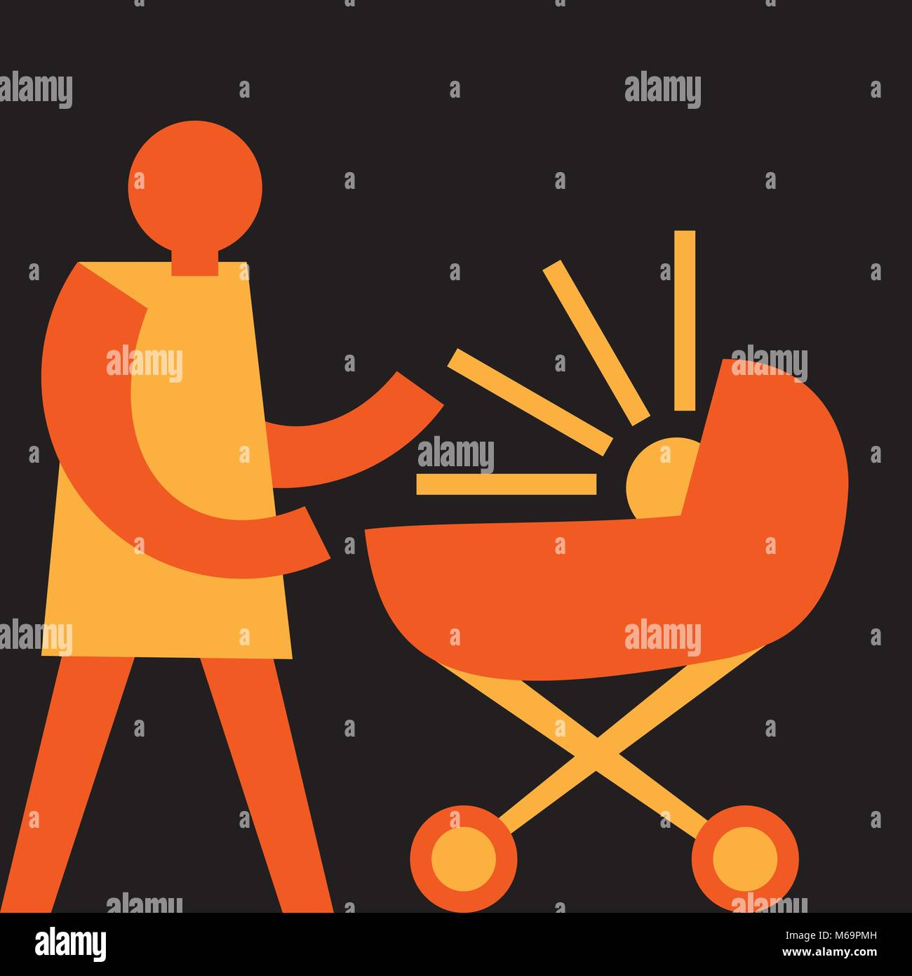 happiness of motherhood, mom with the stroller - Stock Image