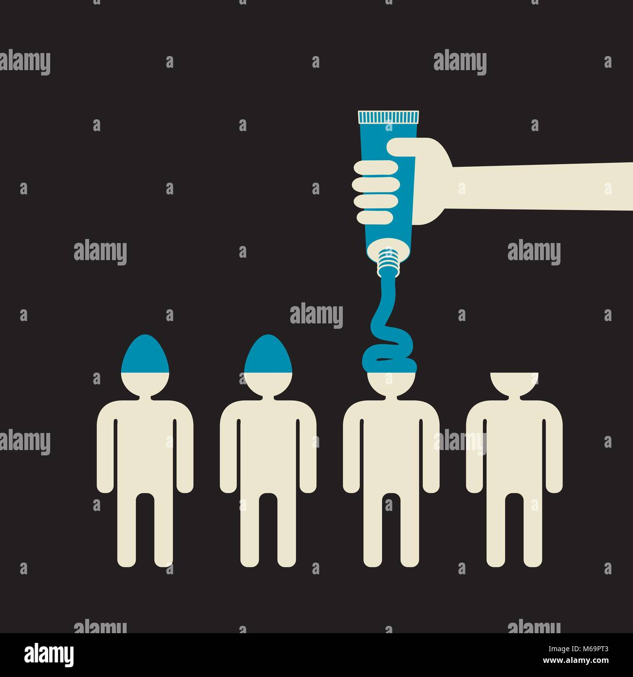 indoctrination: fill people minds with your idea - Stock Vector