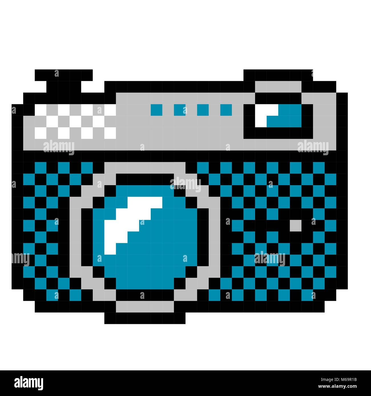 analog photo camera - vintage computer icon style Stock Vector