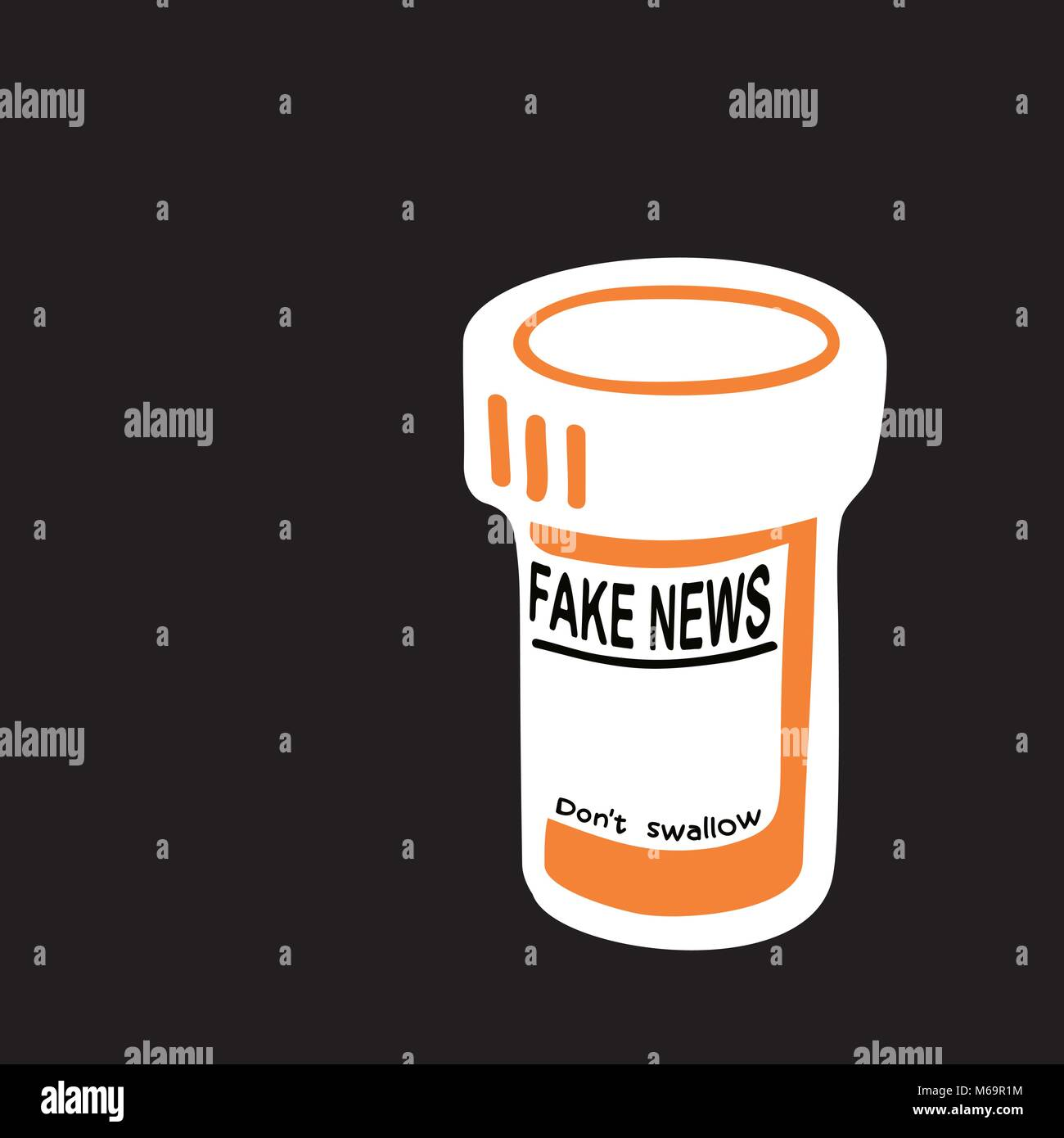 Fake news drug - do not swallow - Stock Vector