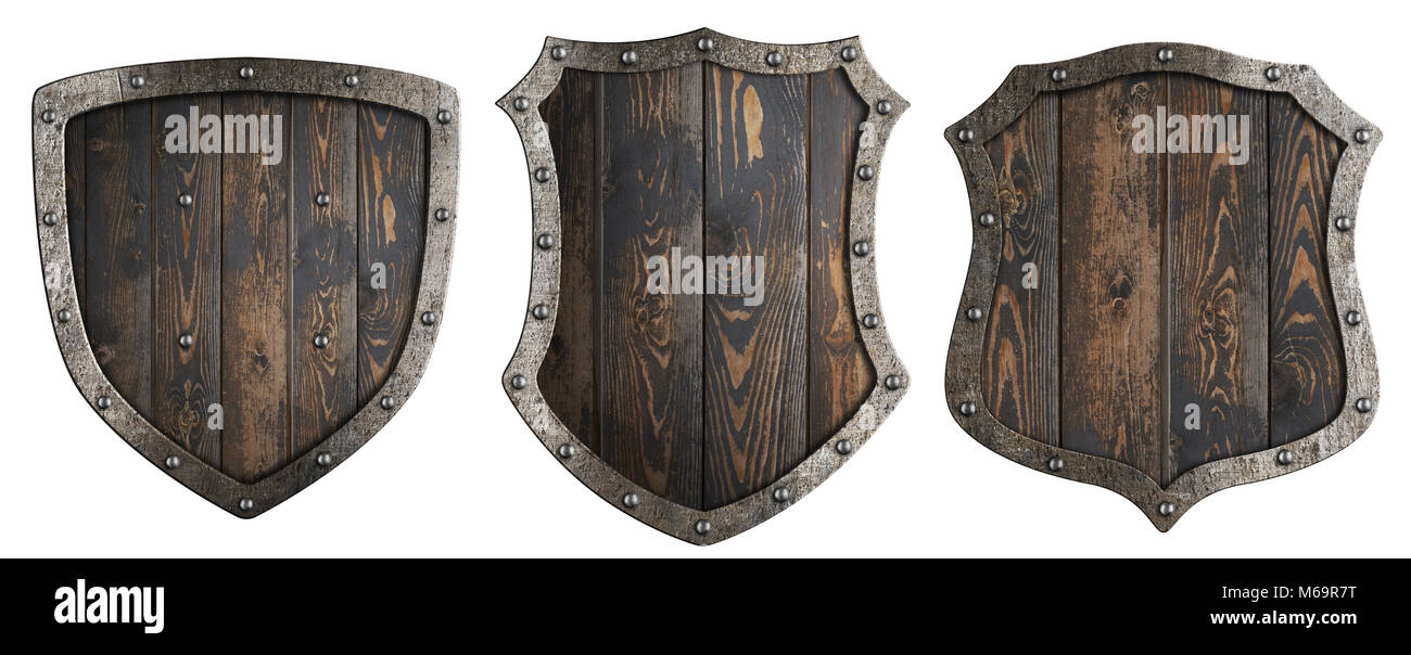 Wooden medieval heraldic shields set isolated 3d illustration - Stock Image
