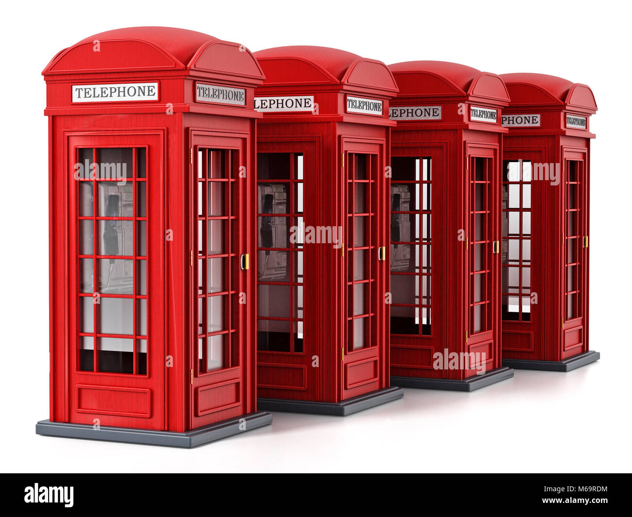 Red British phone booths isolated on white background. 3D illustration. - Stock Image