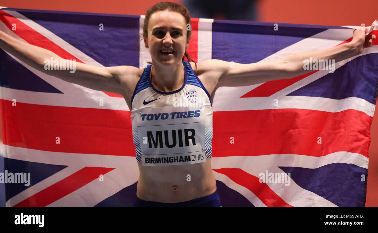 Birmingham, UK. 1st March, 2018. Laura MUIR (GREAT BRITAIN) Poses with the british flag after winning the bronze - Stock Image