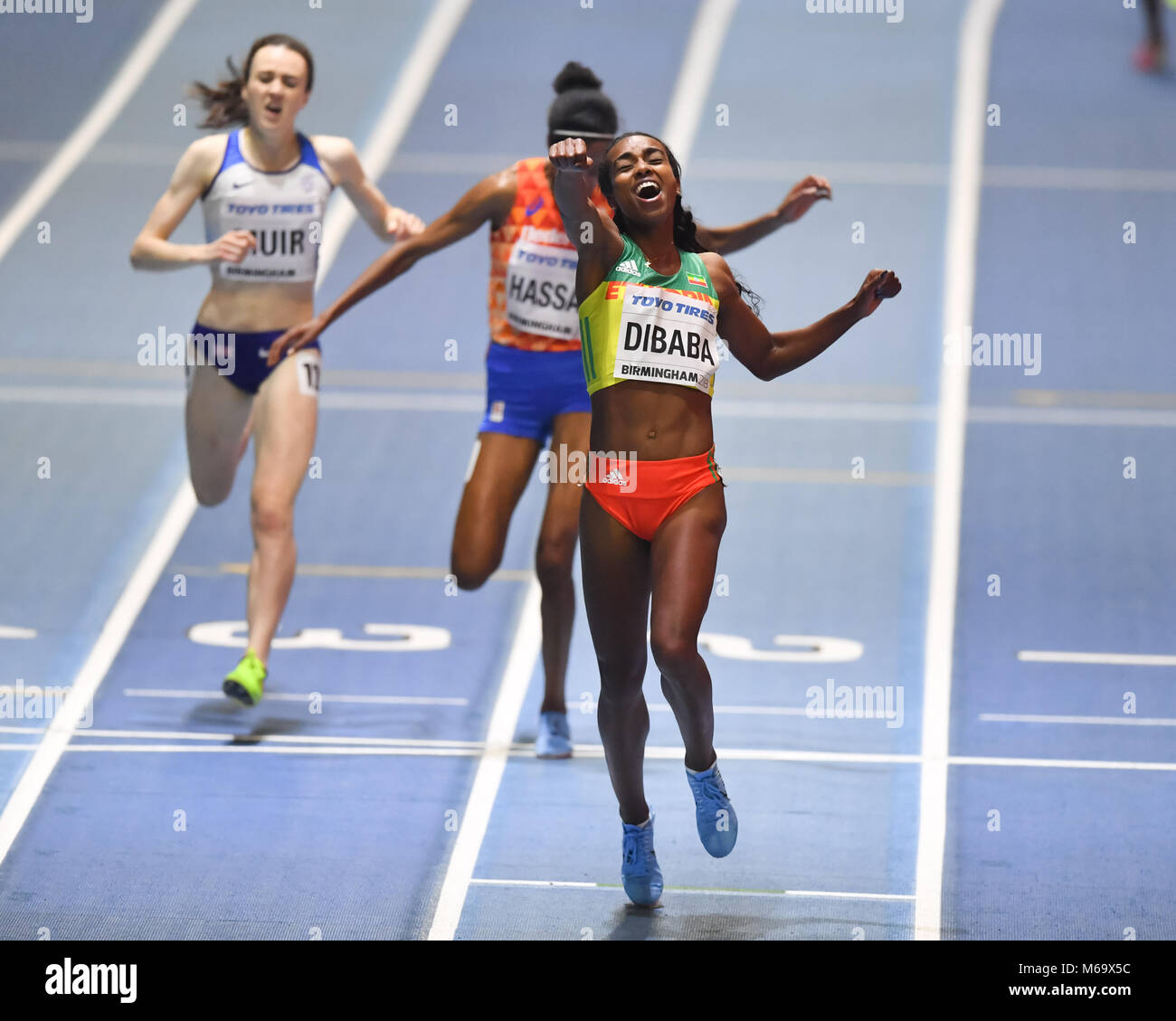 Birmingham, UK. 1st March, 2018. Genzebe Dibaba (ETH) won the gold medal for the Women's 3000m during IAAF World - Stock Image