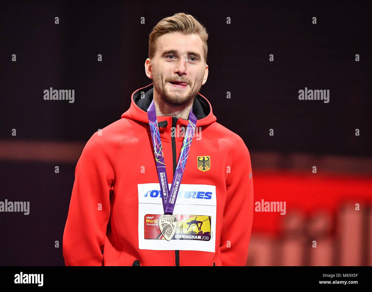 Birmingham, UK. 1st March, 2018.Mateusz Przybylko (GER) at medal Presentation during IAAF World Indoor Championships - Stock Image