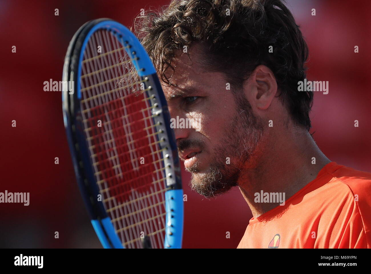 Spanish tennis player Feliciano Lopez in action against US Jared Donaldson during their Mexico Tennis Open quarter - Stock Image