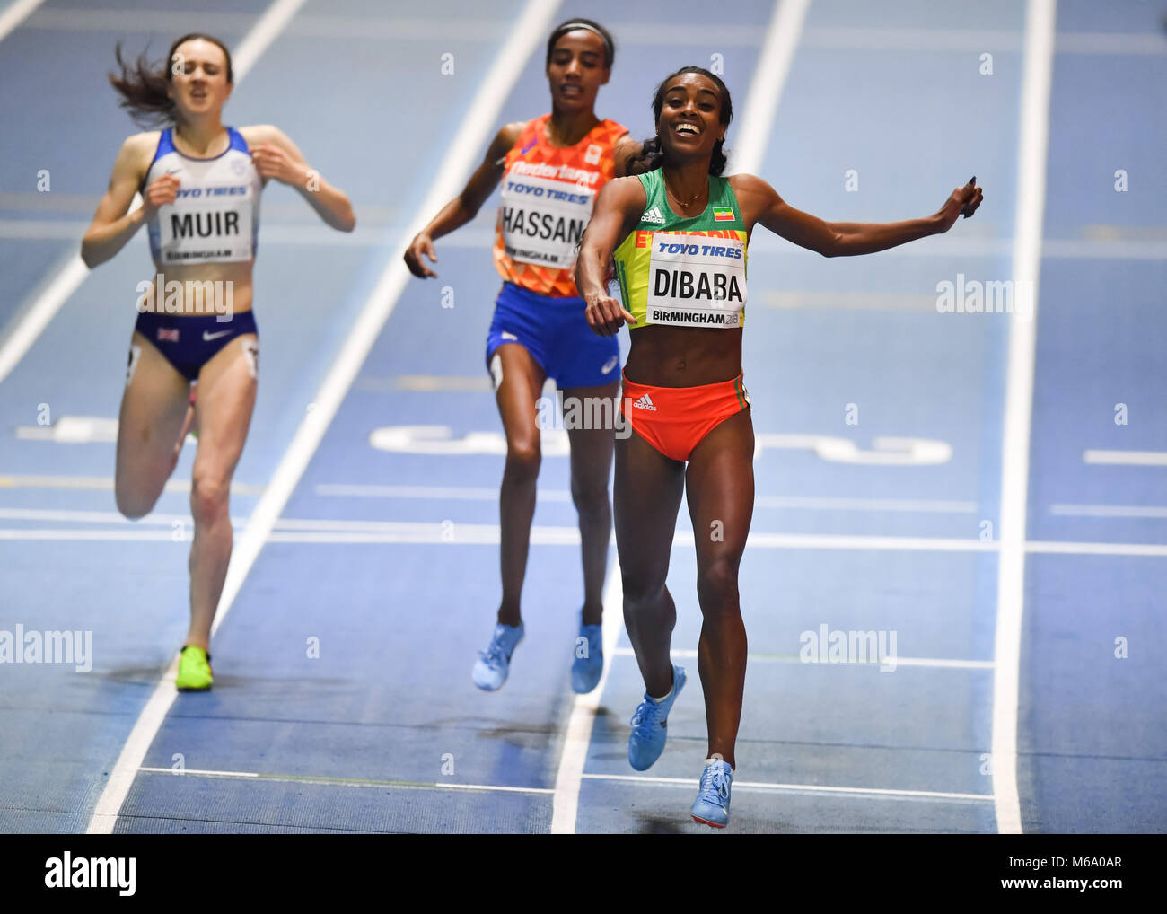 Birmingham, UK. 1st March, 2018. Genzebe Dibaba (ETH) celebrates winning of the Women's 3000m Final during IAAF - Stock Image