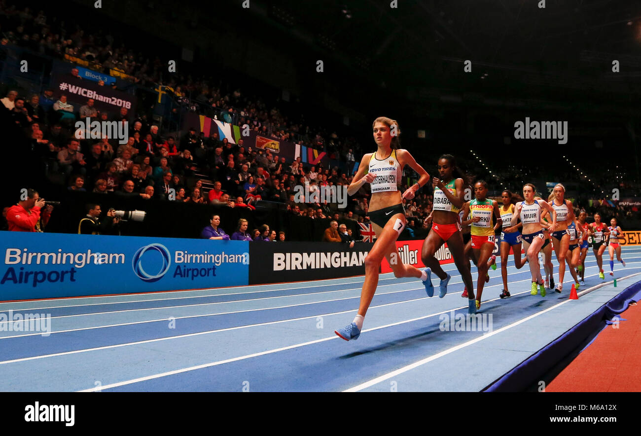 London, UK. 1st Mar, 2018. Genzebe Dibaba (2nd L) of Ethiopia competes during the women's 3000m final during the Stock Photo