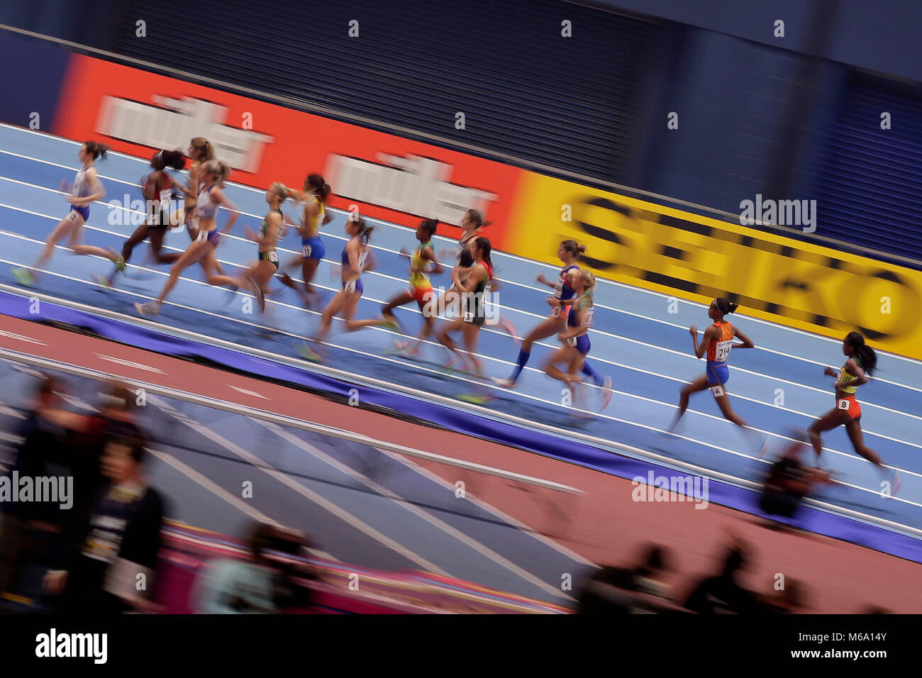 London, UK. 1st Mar, 2018. Runners compete during the women's 3000m final during the IAAF World Indoor Championships - Stock Image