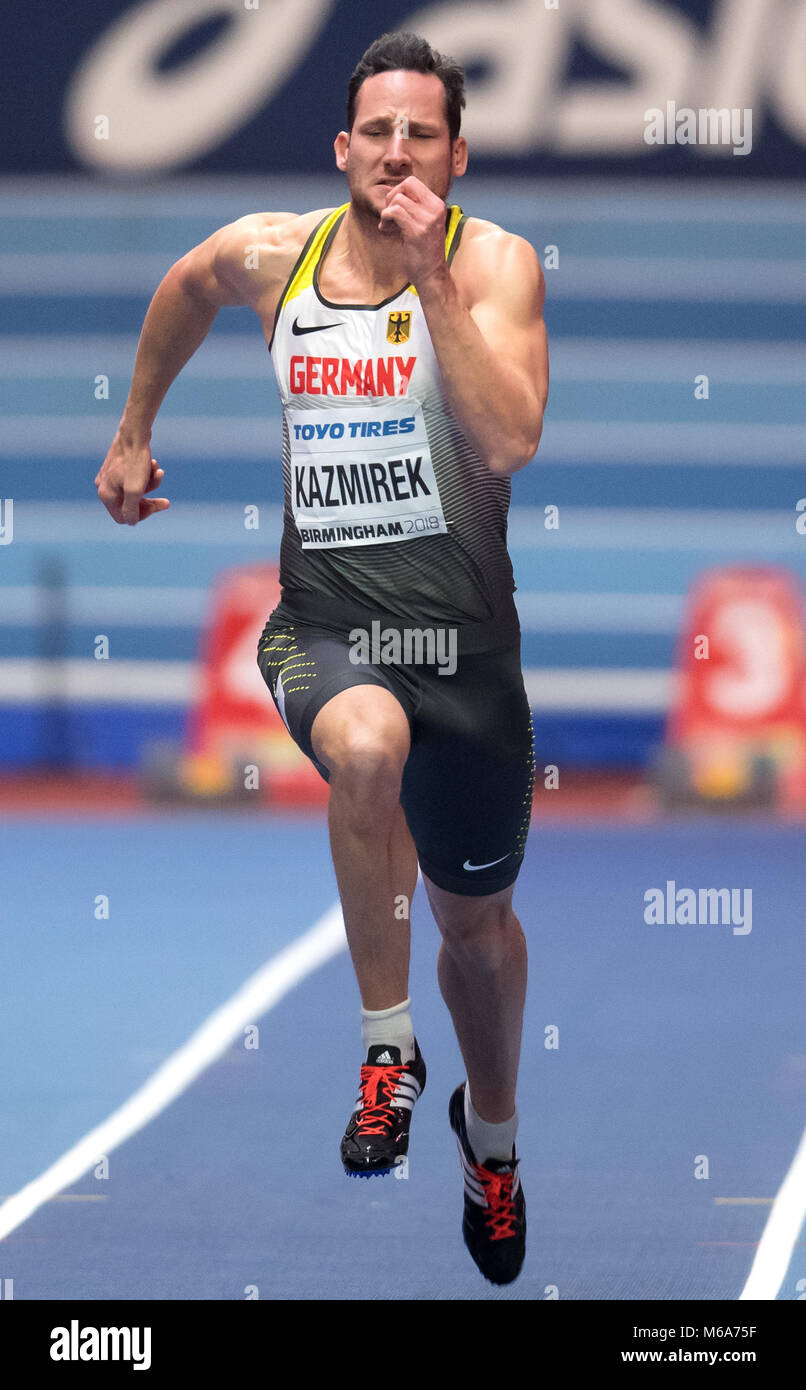 Birmingham, UK. 2nd Mar, 2018. IAAF World Indoor Championships in Athletics: Kai Kazmirek of Germany in action during Stock Photo