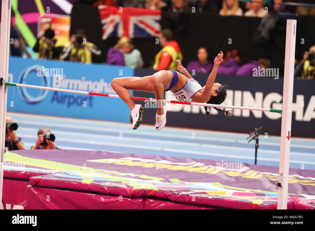Birmingham, UK. 2nd Mar, 2018. Katarina JOHNSON-THOMPSON GREAT BRITAIN competes in the high jump during the IAAF - Stock Image