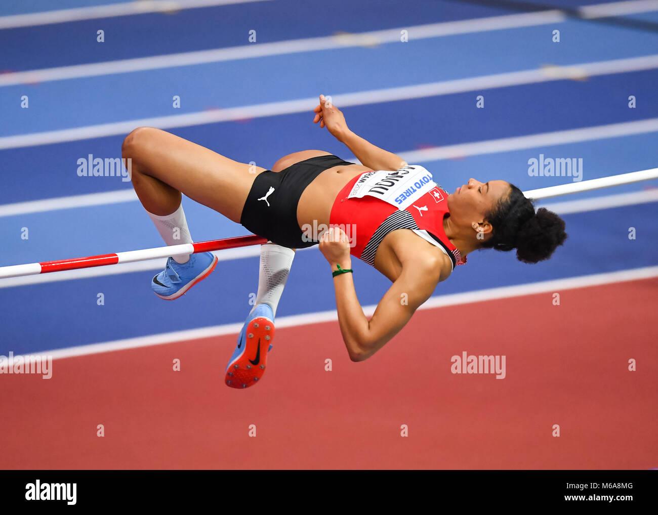 Birmingham, UK. 2nd March, 2018. Birmingham, UK. 2nd Mar, 2018. Caroline Agnou (SUI) in Women's High Jump Pentathlon - Stock Image