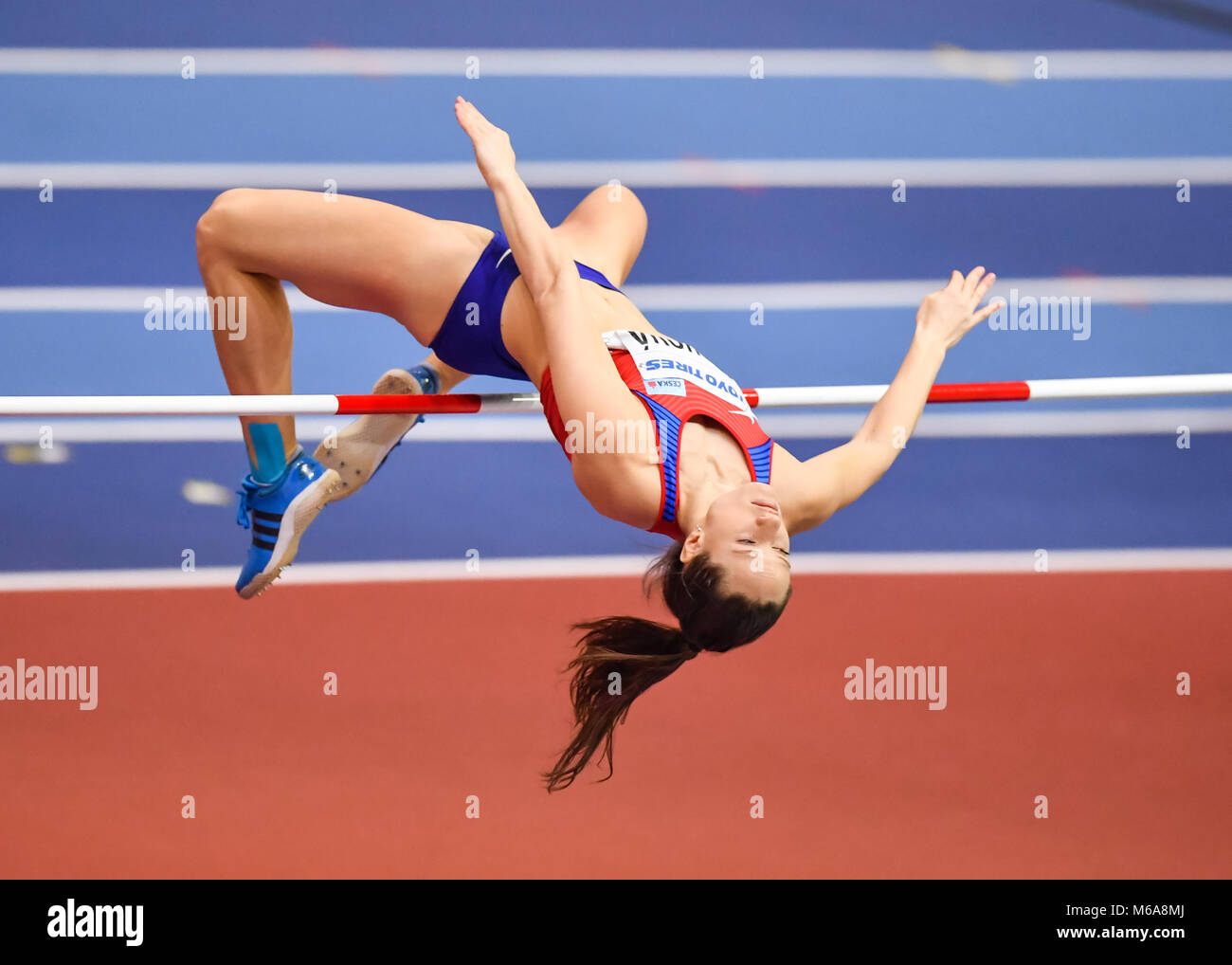 Birmingham, UK. 2nd March, 2018. Birmingham, UK. 2nd Mar, 2018. Katerina Cachova in Women's High Jump Pentathlon - Stock Image