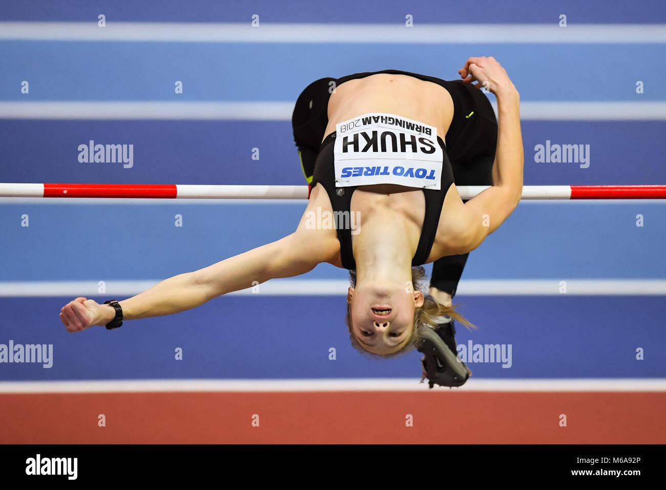 Birmingham, UK. 2nd March, 2018. Birmingham, UK. 2nd Mar, 2018. Alina Shukh (UKR) in Women's High Jump Pentathlon - Stock Image