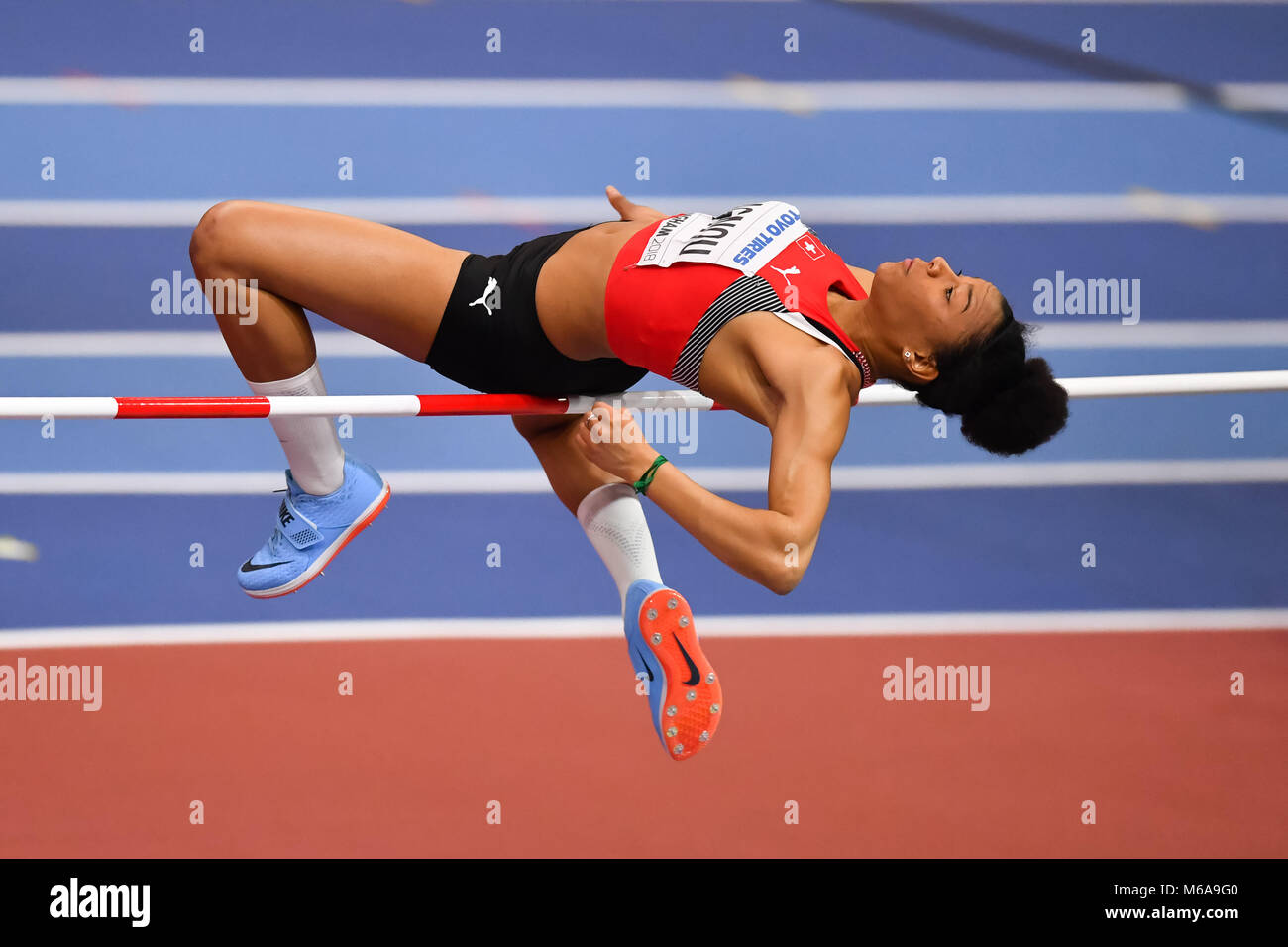Birmingham, UK. 2nd March, 2018. Birmingham, UK. 2nd Mar, 2018. Caroline Agnou (SUI) in Women's High Jump Pentathlon Stock Photo