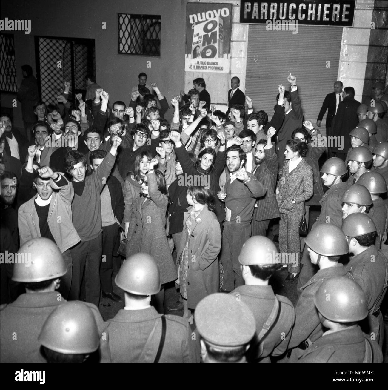 VARIOUS MANIFESTATION OF STUDENTS OF MIDDLE SCHOOLS, AND OF THE STATE UNIVERSITY, STUDENT MOVEMENT, YEAR 1968 (DE - Stock Image
