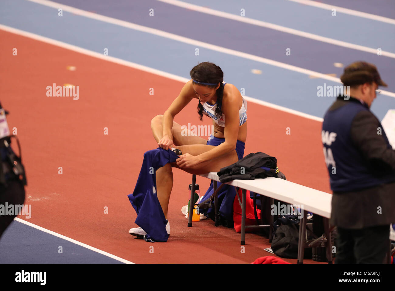 March 2, 2018 - Birmingham, United Kingdom - Katarina Johnson-Thompson from Great Britain prepares to jump during - Stock Image