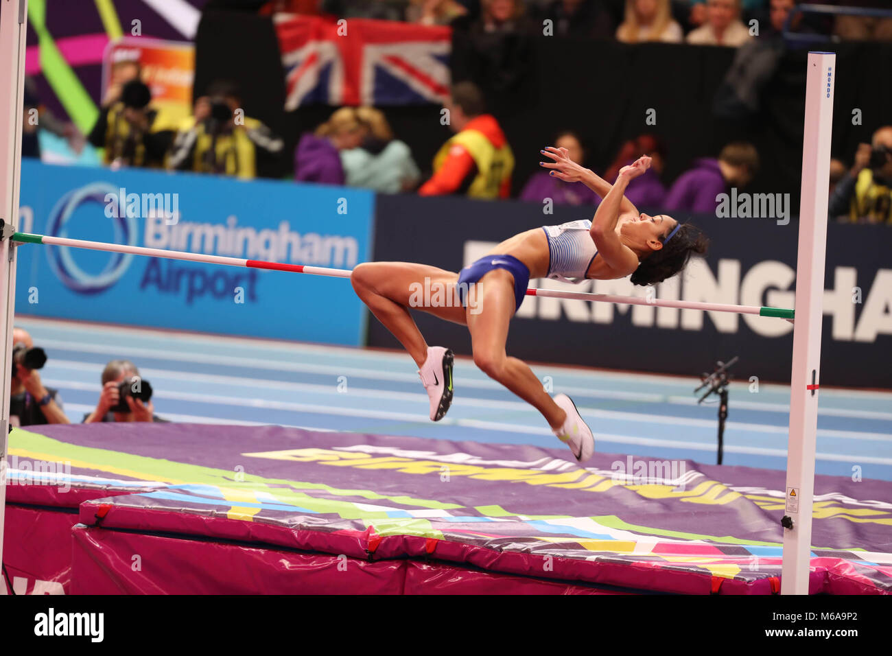March 2, 2018 - Birmingham, United Kingdom - Katarina Johnson-Thompson from Great Britain competes in the high jump - Stock Image