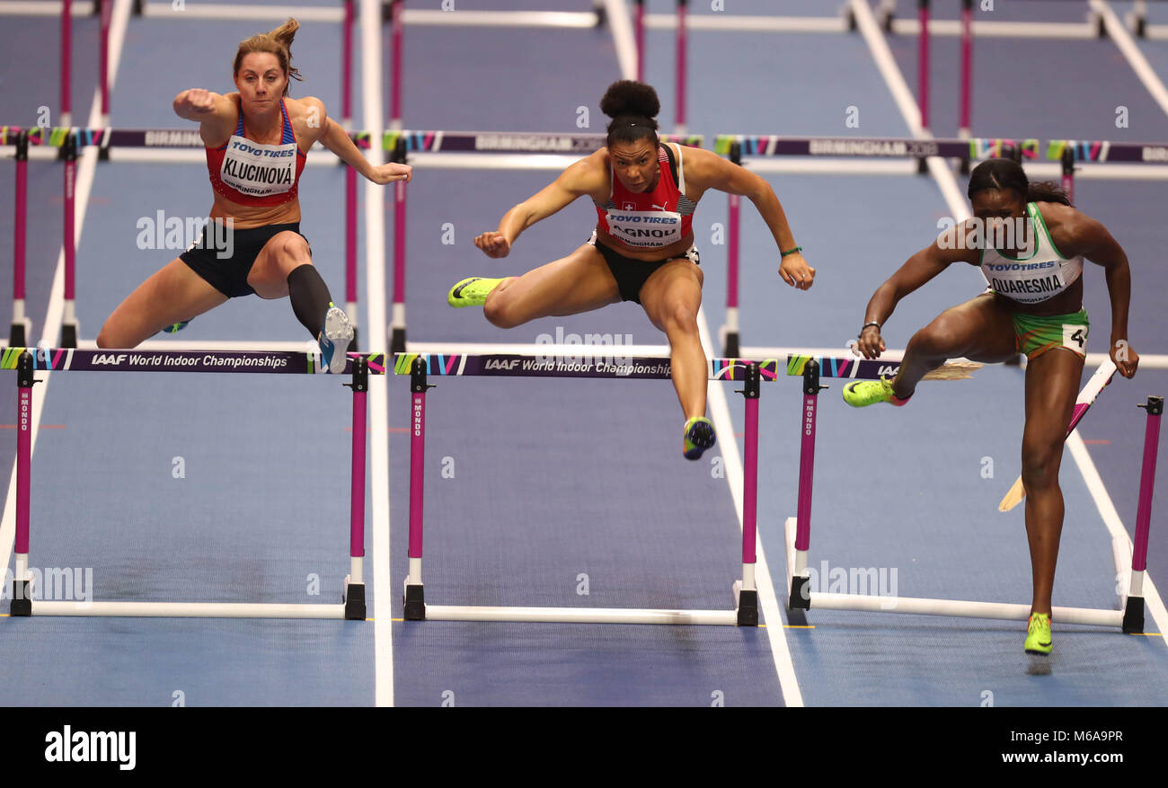 March 2, 2018 - Birmingham, United Kingdom - Caroline Agnou from Switzerland, Eliska Klucinova from Czech Republic - Stock Image
