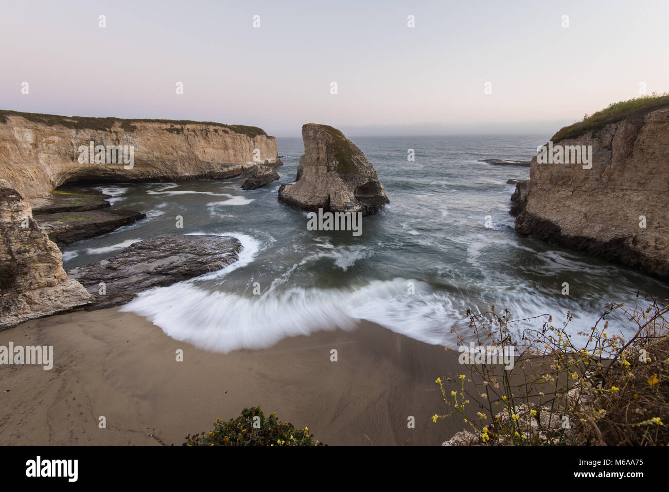 Sunset in Davenport is beautiful, especially at Sharks Cove just north of Santa Cruz - Stock Image