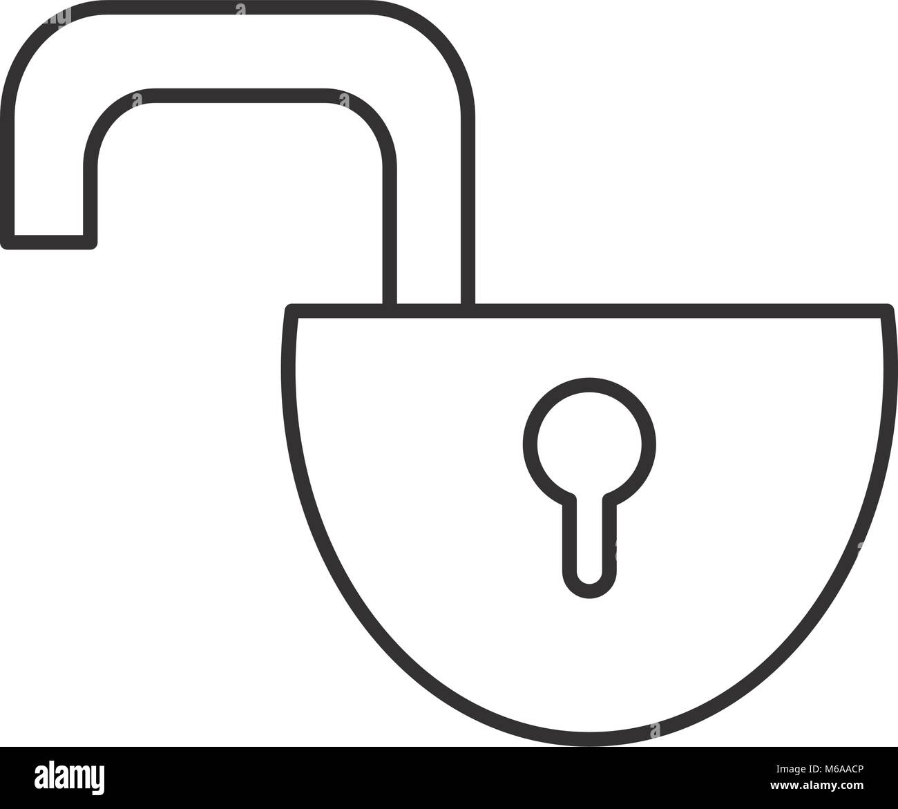 line open padlock object to protection privacy - Stock Image