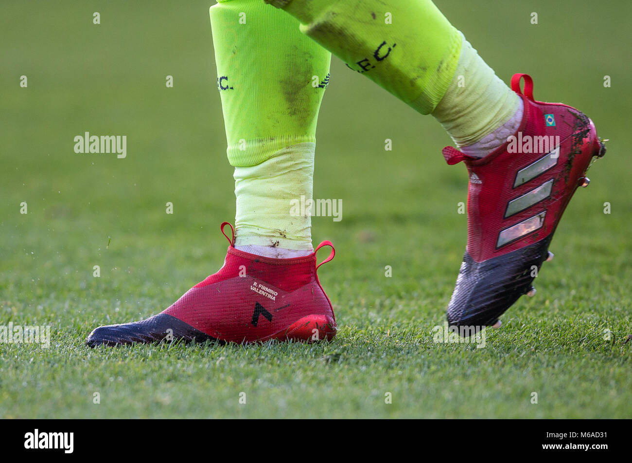 6ca88522512f Roberto Firmino of Liverpool socks   personalised adidas football boots  during the EPL - Premier League match between Bournemouth and Liverpool at  the