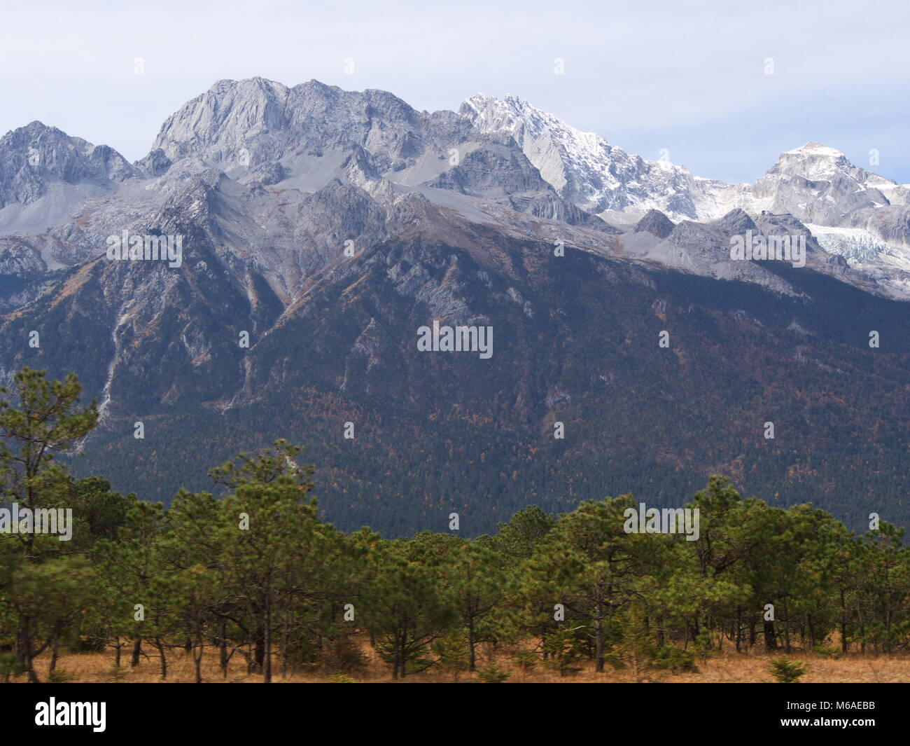 A Stunning view of Jade Dragon Snow Mountain in Lijiang Yunnan Province. Travel in China in 2012, November 18th. - Stock Image