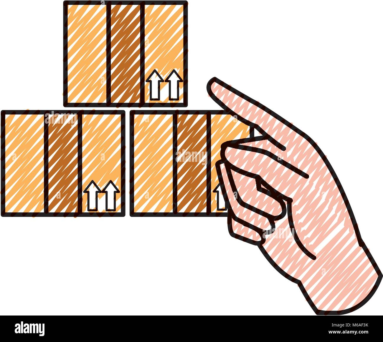 doodle hand pointing out the delivery packages service - Stock Vector