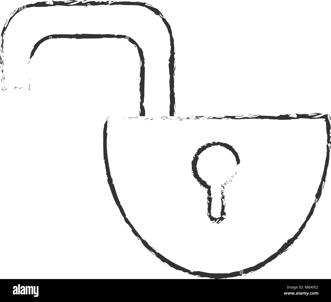 grunge open padlock object to protection privacy - Stock Image