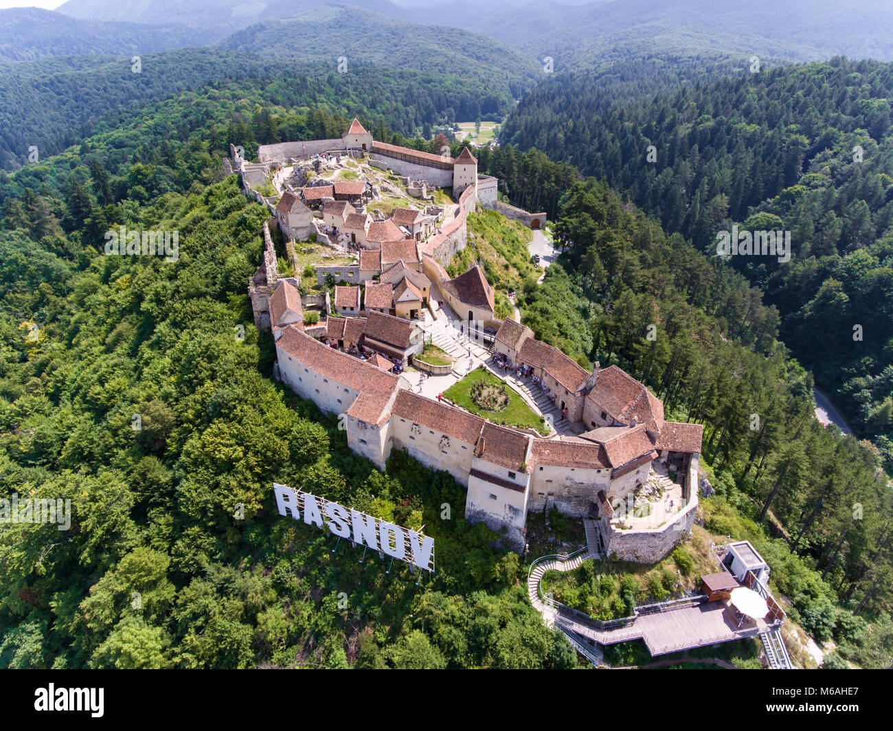 Rasonov Fortress in near Brasov and Bran Romania, Transylvania - Stock Image