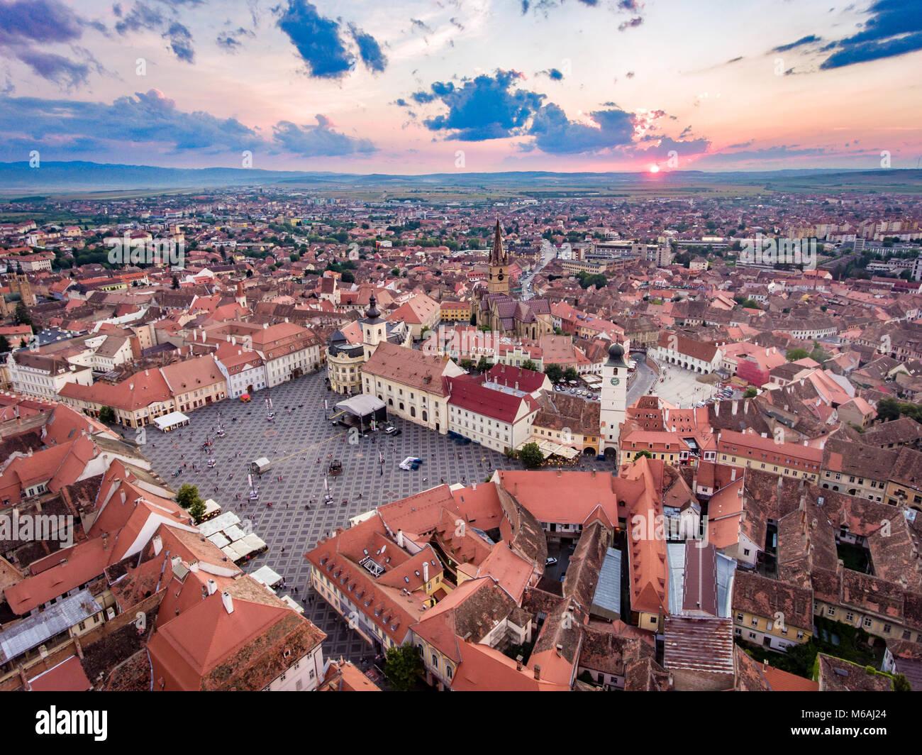 Aerial view of Sibiu, Romania, at sunset - Stock Image