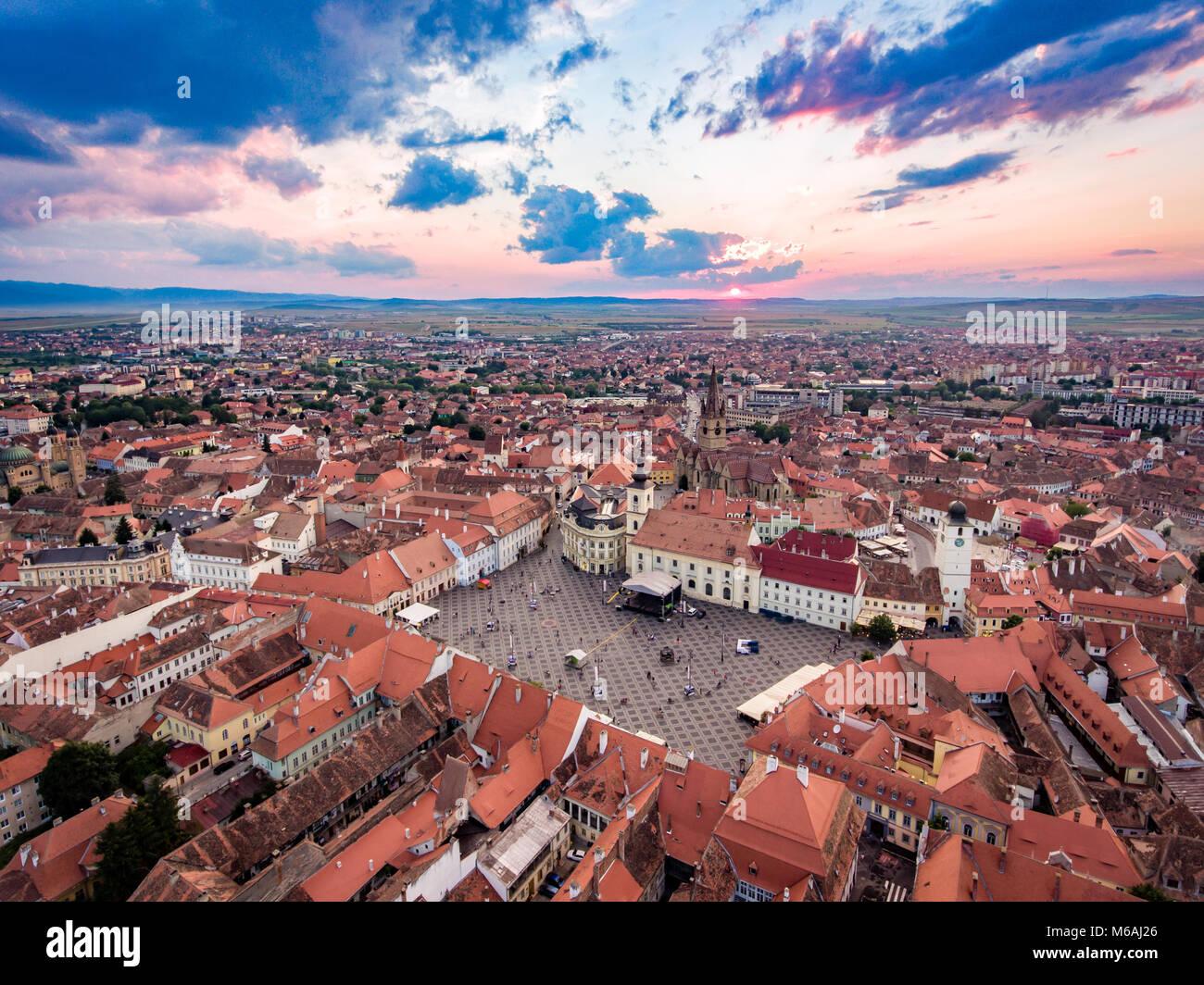 Sunset in Sibiu - Stock Image