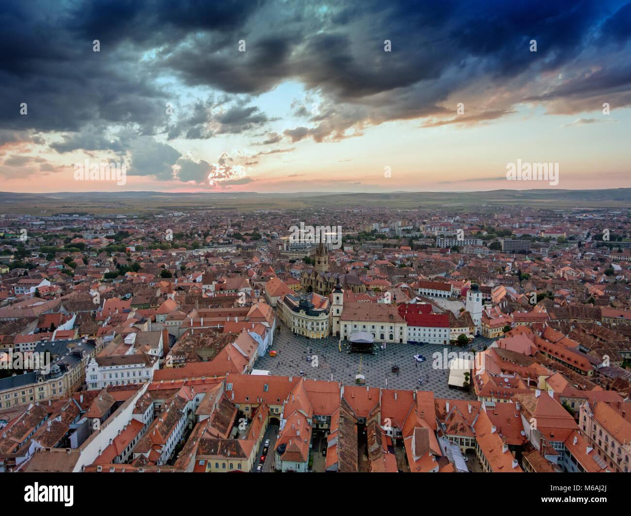 Aerial view of Sibiu, Tranylvania, Romania at sunset - Stock Image