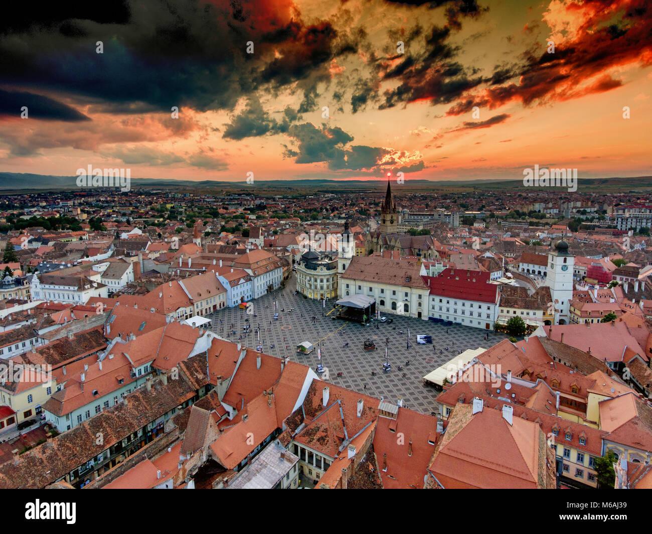 Sunset in Sibiu Hermannstadt Romania Stock Photo