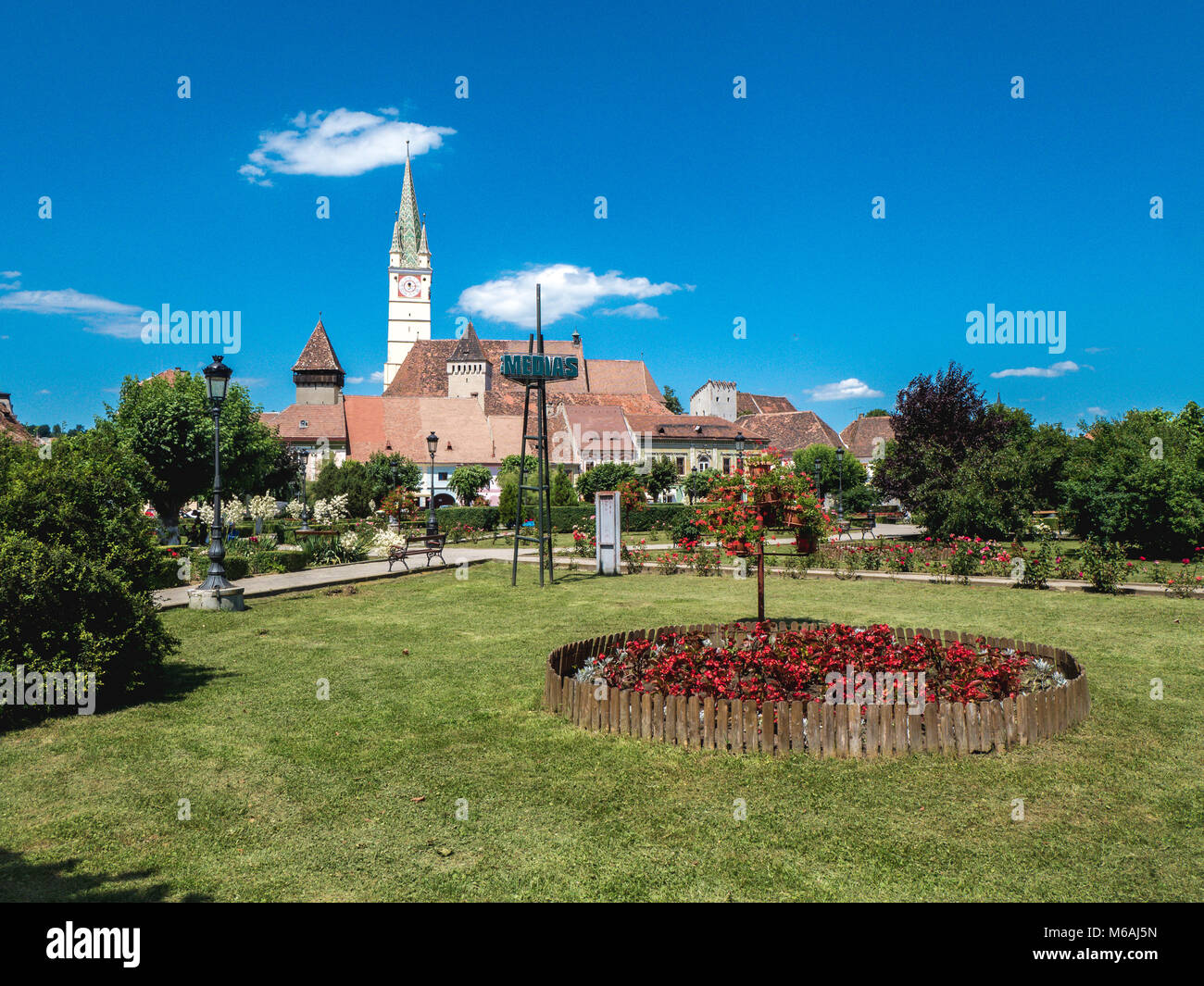 Medias Romania city symbol. Old saxon Cathedral clock tower in the city main square - Stock Image