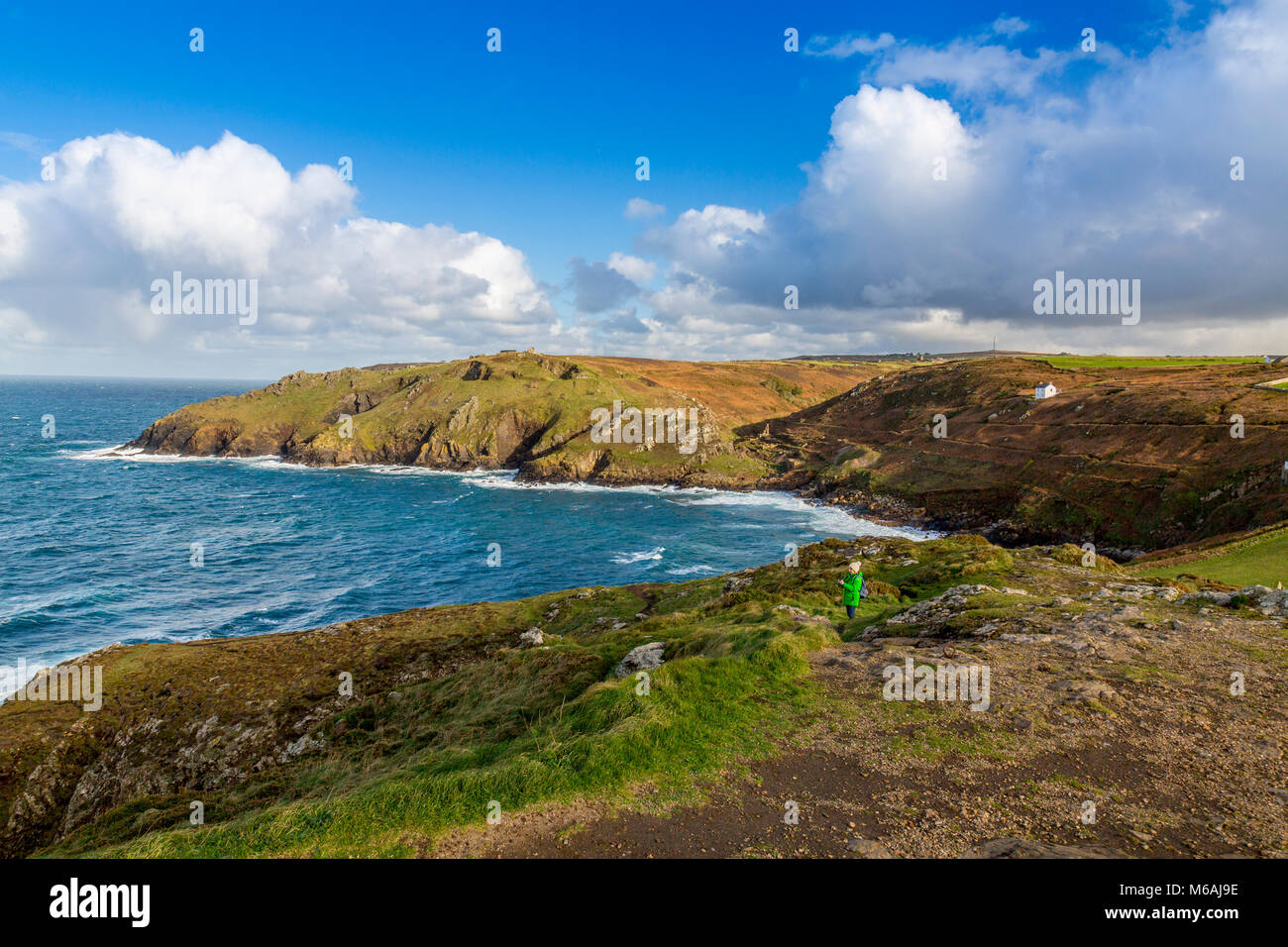Looking from Cape Cornwall summit towards the mouth of the Kenidjack Valley - once an important Cornish tin mining - Stock Image