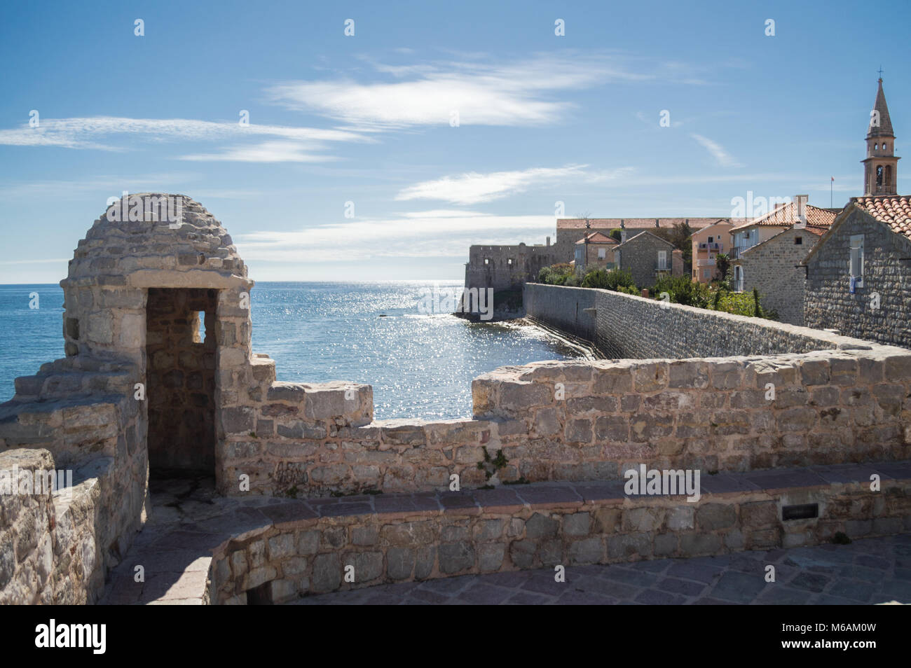 Budva Citadel with Panoramic View onto Adriatic Sea and Old Town, Montenegro - Stock Image