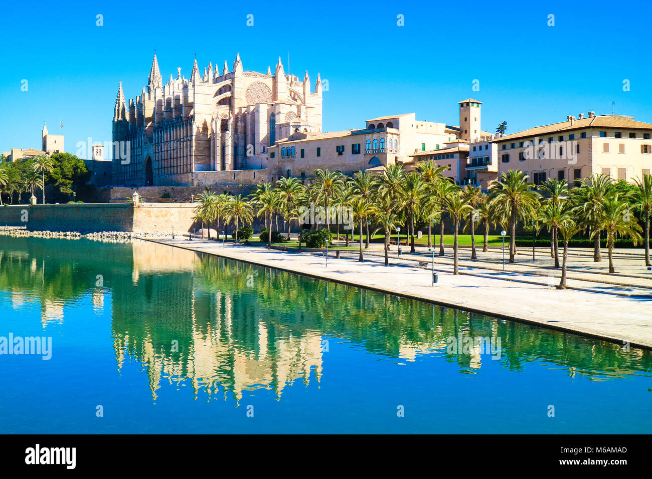 Palma de Mallorca, Spain. La Seu - the famous medieval gothic catholic cathedral in the capital of the island Stock Photo