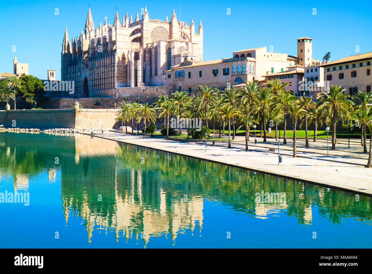 La Seu - the famous medieval gothic catholic cathedral. Palma de Mallorca, Spain. Water reflection. - Stock Image